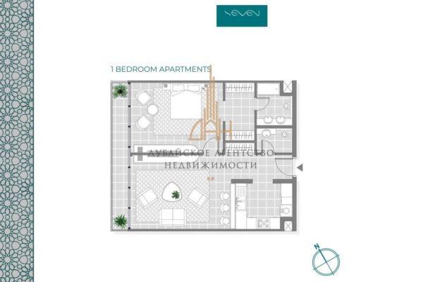 Меблированные апартаменты с 1 спальней в Seven Palm (Дубай)