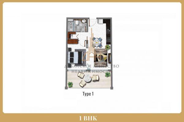 Апартаменты с 1 спальней в Арджан с гарантированным доходом 8% в год