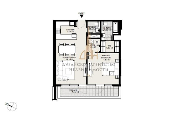 Апартаменты с 1 спальней в District One Residences