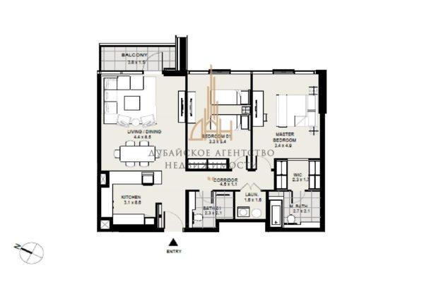 Апартаменты с 2 спальнями в District One Residences
