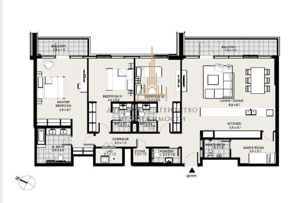 Апартаменты с 3 спальнями в District One Residences