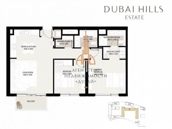 Апартаменты с 2 спальнями и гостиной в Executive Residences II | Dubai Hills Estate