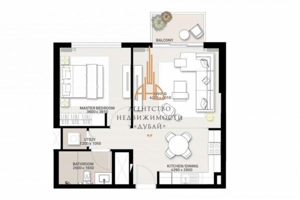 Апартаменты с 1 спальней и гостиной в Executive Residences II | Dubai Hills Estate