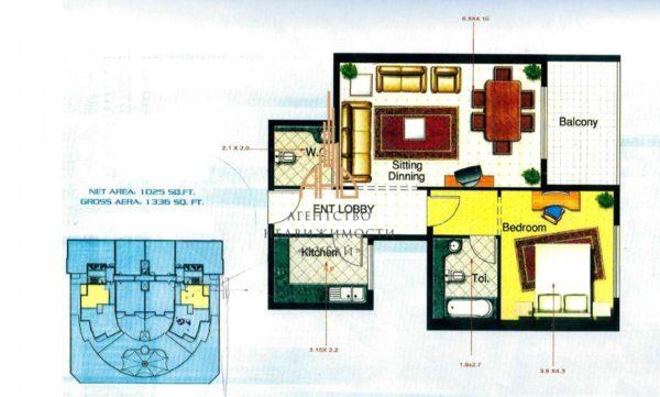 Квартира с 1 спальней и гостиной (вторичное жилье) Corniche Tower (вид на море)| Ajman