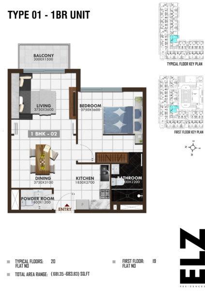 Квартира с 1 спальней и гостиной с рассрочкой на 5 лет в ELZ