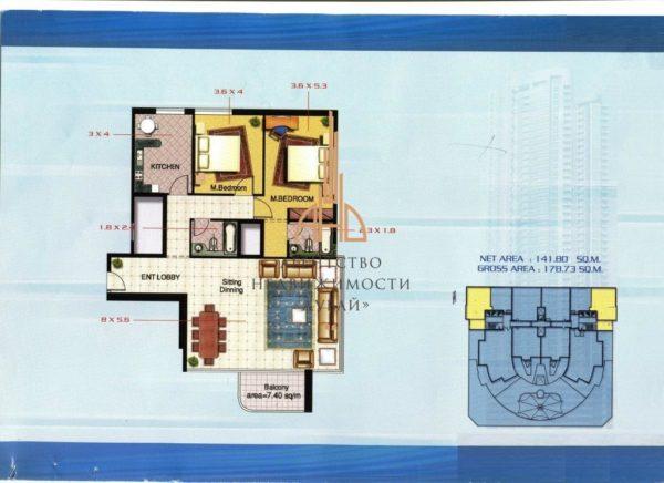 Квартира с 2 спальнями и гостиной (вторичное жилье) Corniche Tower | Ajman