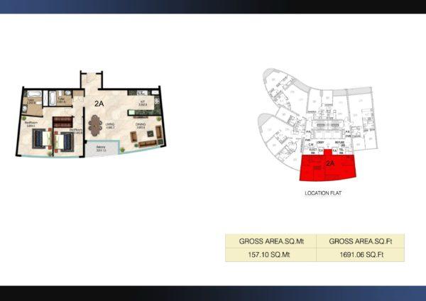 Квартира с 2 спальнями и гостиной Corniche Residences | Ajman